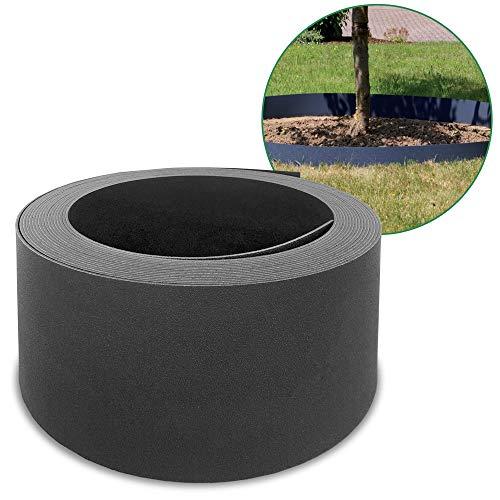 HEMMDAL Beetumrandung PP Kunststoff - anthrazit - Flexible Rasenkante - 2 mm Stärke - optimal für Mähroboter (12 m x 0,12 m)