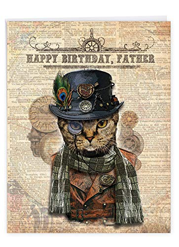 Stylish Happy Birthday Card to Father 8.5 x 11 Inch - Big Steampunk Cat Greeting Card - Celebrating Your Dad's Birthday with Kitten, Feline - Congratulations and Happy Bday (w/ Envelope) J6554EBFG