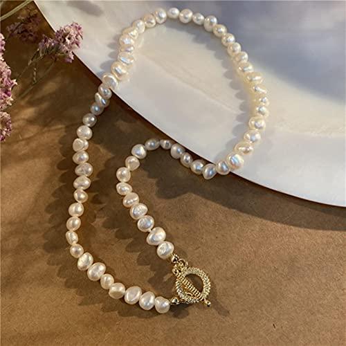 SONGK Forma barroca Retro Collar de Cadena de clavícula de Perlas de Agua Dulce Pulsera OT Hebilla Collar de Perlas de Agua Dulce