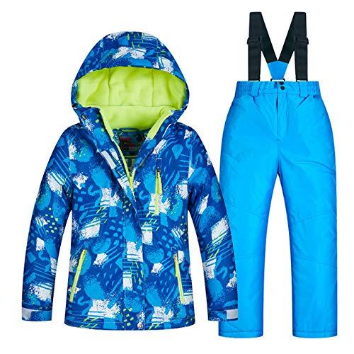 NGHXZ Kinder Skianzug Kinder Marken Wasserdicht Warme Mädchen Und Jungen Schnee Jacke Und Hosen Winter Skifahren Und Snowboarden Kleidung Kind, RT007blau, 16