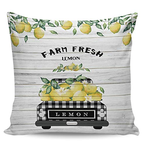 Scrummy Fundas de almohada de 45,72 x 45,72 cm, diseño retro vintage de madera de granja, limón, búfalo a cuadros, fundas de cojín decorativas para decoración del hogar