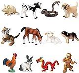 Figuras de animales, 12 piezas de plástico realista del zodiaco chino Figurines Set Incluye Cobra, ratón, Ternero, etc. Tigre proyecto de la ciencia, aprendizaje juguetes educativos, regalo de cumplea
