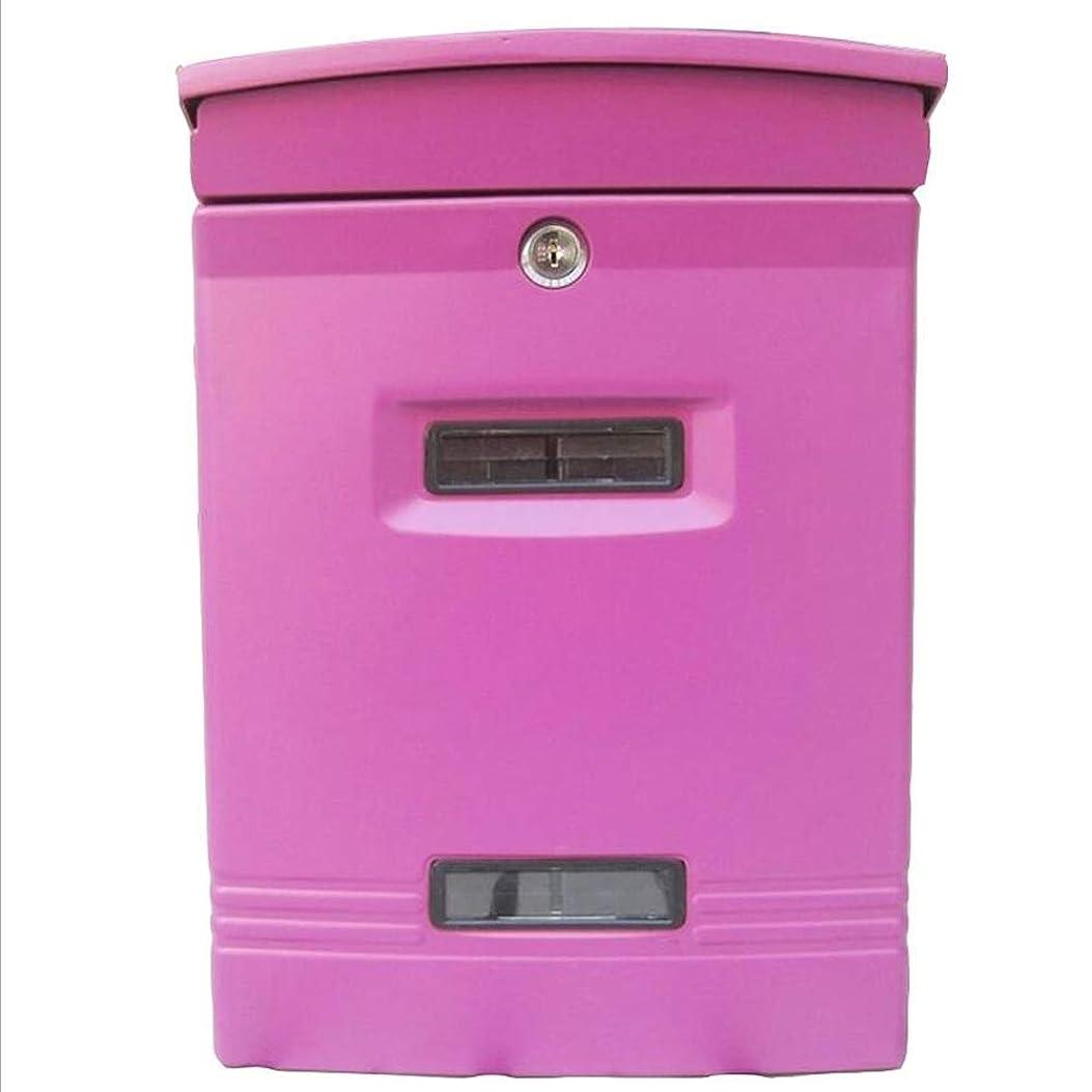 経過恐ろしいですボウリングHUA BEI メールボックス 郵便箱 - 亜鉛メッキされたシート、ヨーロッパの厚い屋外防水壁にマウントされたレトロポストボックス、ヴィラ、中庭、家庭に適して - 利用可能な2色 @@ (色 : Pink)