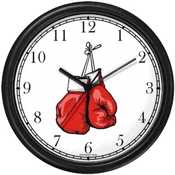 WatchBuddy Pair Of Red Boxing Gloves Hanging Martial Arts Wall Clock Timepieces Black Frame