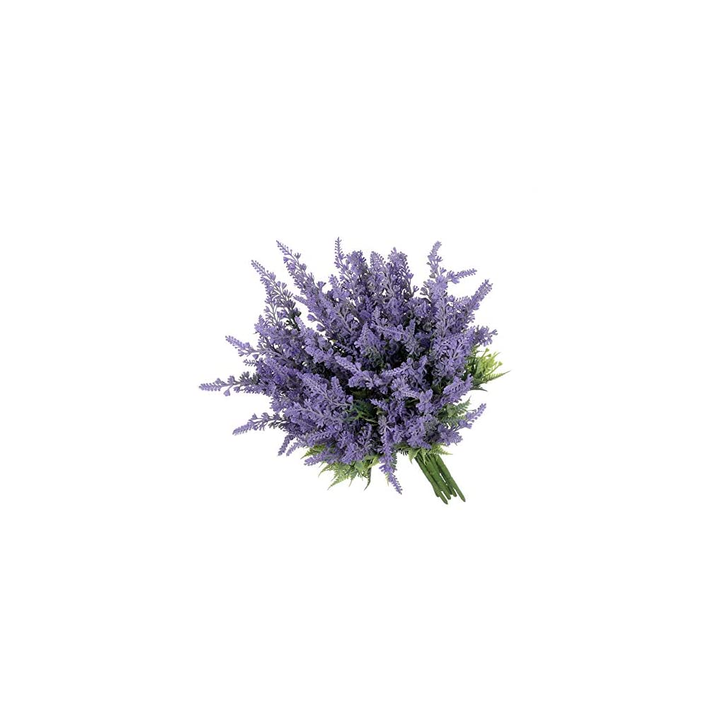 Grand Verde Lavender 8 PCS Set Purple Artificial Flowers Faux Plants Real Touch Plastic Bouquets Fake Shrub – Outdoor Farmhouse Gift DIY Garden Patio Balcony Wedding Party French Provence Home Decor
