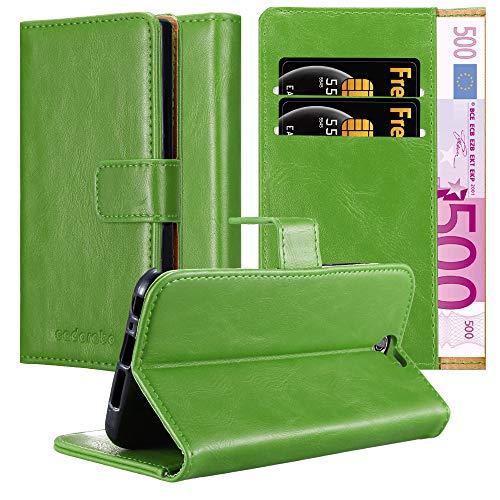 Cadorabo Hülle für HTC One A9 - Hülle in Gras GRÜN – Handyhülle im Luxury Design mit Kartenfach & Standfunktion - Hülle Cover Schutzhülle Etui Tasche Book