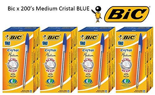 Bic Cristal - Bolígrafos de punta redonda Bulk Prime Pack {200 bolígrafos} azul