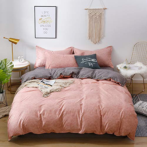 Nordic Modern Style Home Textiles Bedding Set Small Fresh Series Solid Color Pink Duvet Cover Queen King Size Linen Comforter Set Double Single The Comfy for Girl Adult,Full