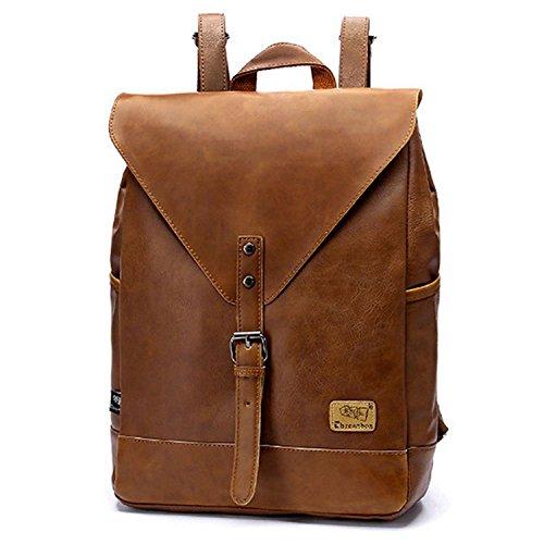 Minetom Unisex Mode PU-Leder Rucksack Wanderrucksack Hiking Backpack Retro Schultasche Laptop Daypack Für Universität Braun One Size