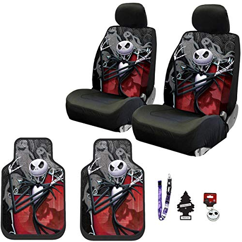 Yupbizauto New Plasticolor 11 Pieces Nightmare Before Christmas Jack Skellington Ghostly Car Truck SUV Seat Covers Floor Mat Set with Little Tree Air Freshener