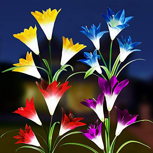 LiyuanQ Solar String Lights Outdoor, Lily Flowers Garden Lights 4 Pack with 16 Bigger Lily, Outdoor 7 Color Changing Lights IP65 Waterproof, Bigger Solar Panel for Pathway Garden Yard Patio Decoration