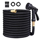 OWSOO Garden Hose, 100ft Expandable Garden Hose, Water Hose with 8 Functional Nozzle, No Kink Flexible Hose, Lightweight Water Hose with 3/4' Solid Brass Fittings&Double Latex Core, Carry Case