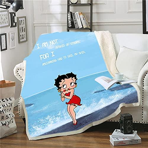Manta Polar Chica Anime de Playa Azul Rojo Lana Super Suave Manta Caliente de Tejido Manta Sofa para Interior,Camping,sofá y sillón reclinable 70 cm x 100 cm
