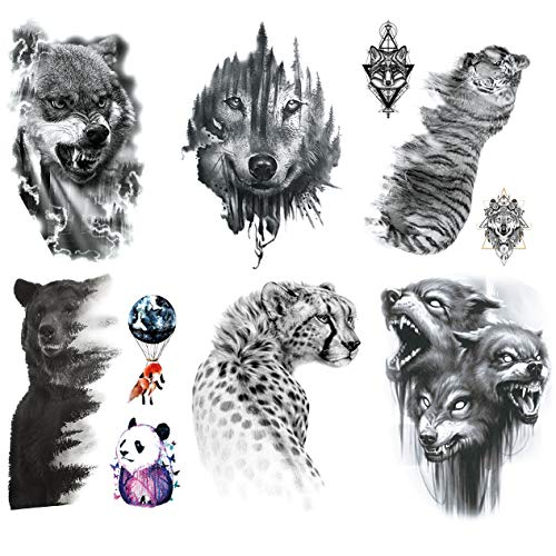 Kotbs 6 Sheets Animal Temporary Tattoos, Black Strong Wolf Tiger Tattoo Stickers for Men Women Adults Waterproof Fake Tattoos