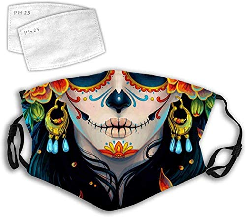 Day of The Dead Skull Adjustable Anti Dust Reusable Washable Face Cover Mouth Scarf Halloween Cycling Camping-21 Flowers Dragonfly-Men/Women With 2 Filters Made In USA