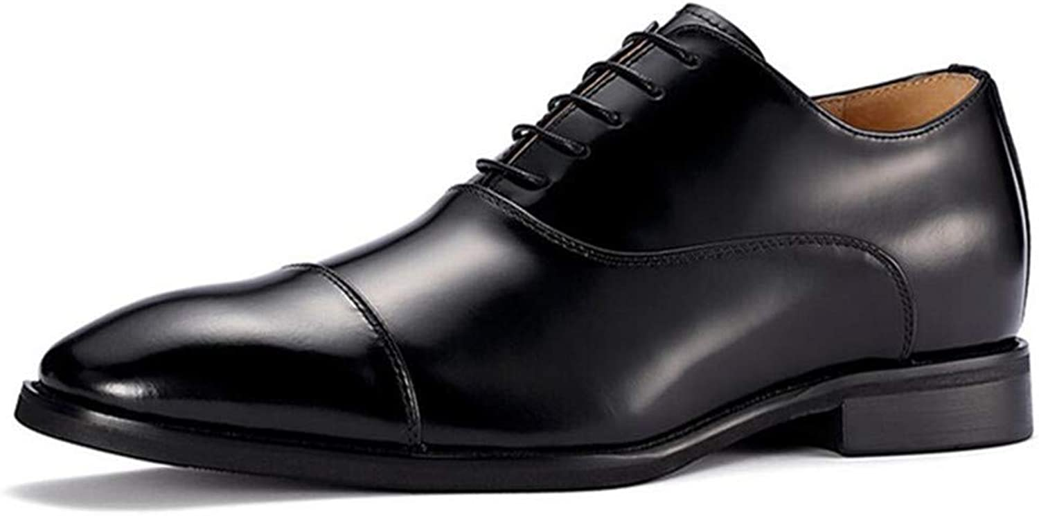GOG Taller Men's Height Patent Leather shoes Height Increasing Elevator Dress shoes Business Brown