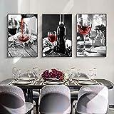 Gymqian Bodegón Blanco y Negro Arte Abstracto Botella de Vino Cuadro de Pared Pintura de Lienzo nórdico Diseño Moderno para el hogar Decoración Mural 40x60cmx3 Sin Marco
