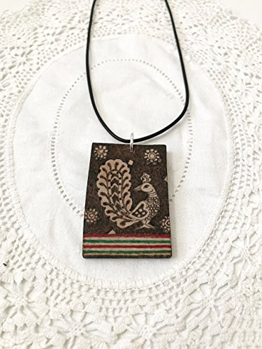 Wood rectangular pendant with black cord necklace, gift item, handmade pyrography (wood burning), peacock...