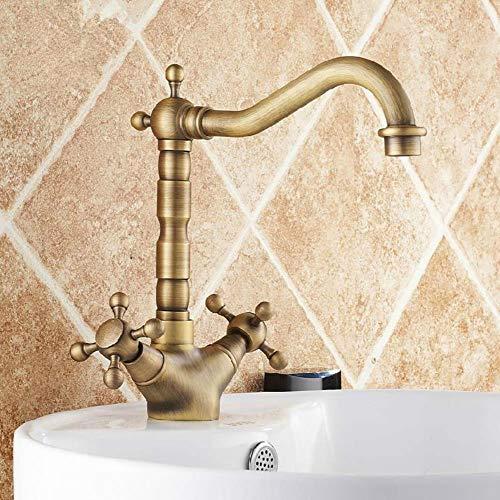 Brass Cuenca Grifos de bronce antiguo giratorio baño grifo del fregadero 2 Palanca Cubierta WC Washbsin mezclador de agua Taps WC Taps ZLY-6711F, Bronce