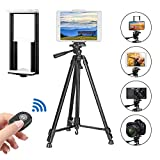 PEYOU Compatible for iPad iPhone Tripod, 62 inch Lightweight Aluminum Phone Camera Tablet Video Tripod + Wireless Remote + 2 in 1 Mount Holder for Smartphone (Width 2-3.3'),Tablet (Width 4.3-7.2') …