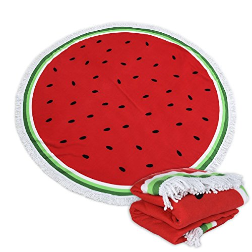 Large Round Picnic Mat Beach Blanket with Tassels Ultra Soft Super Water Absorbent Multi-Purpose Towel 59 inch Across Multifunctional Purposes Blanket, Wash Machine Easy wash (016 Watermelon)