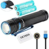 Olight Baton Pro 2000 Lumens High Performance Cool White LED 18650 Magnetic Rechargeable Side Switch LED Flashlight,with SKYBEN Battery Case