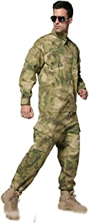 Image of LXYFMS Camouflage 2 Piece Suit Men's Jungle Hunting Sports Riding Training Uniforms Comfortable Tops and Slim Trousers Camouflage Suit (Color : Jungle, Size : M/175-180/70kg)