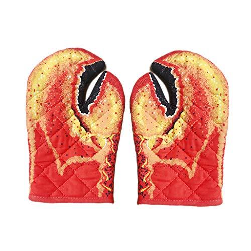 Non-brand House Lobster Claw Oven Mitts Guantes de Cocina Resistentes Al Calor Forro de Algodón con Bucle Colgante Guantes de Garra de Cangrejo para Hornear, Co