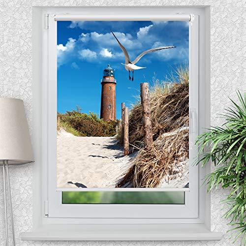 La-Melle » Rollo Motiv Düne Möwe Leuchtturm | Verschiedene Größen | Klemmrollo ohne Bohren | auch für Wand- oder Deckenbefestigung, Größe: B 90 x H 120 cm