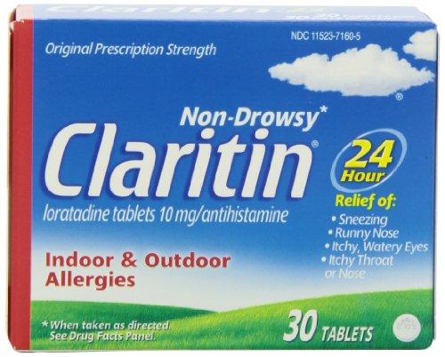 Claritin 24 Hour Allergy Medicine, Non-Drowsy Prescription Strength Allergy Relief, Loratadine Antihistamine Tablets, 30 Count
