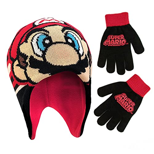 Nintendo Boys' Little Super Mario Hat and Gloves Cold Weather Set, Age 4-7