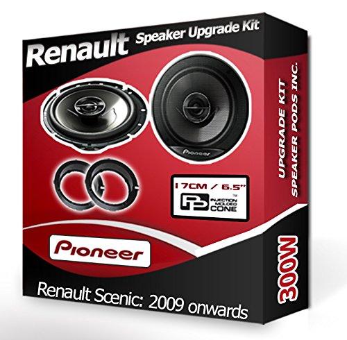 Pioneer Porte arrière Renault Scenic Haut-parleurs Haut-parleurs de Voiture + Adaptateur Anneaux gousses 240 W
