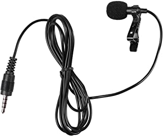 Hemobllo Mini Microphone Portable Clip on Lapel Lavalier Condenser Wired Microphone Mic for Mobile Phone Camera Laptop (Black)