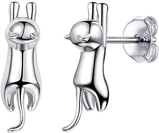 Silvora Luxury Sterling Silver Stud Earrings, S925 Animals Jewelry Cubic Zirconia Elegant Earrings Charms for Women Girls Lovely Earrings (Send Gift Box)