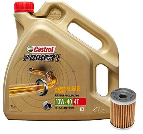 Castrol Kit Duo Power 1 Aceite de Motores 10W-40 4T 4L + Filtro Mahle OX407