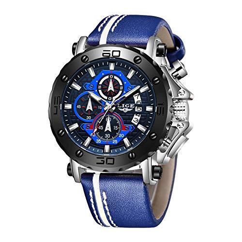 LIGE Reloj para Hombre Acero Inoxidable Impermeable Multifunción Analógico Cuarzo Cronógrafo Deportivo Calendario Reloj de Correa Azul Plateado