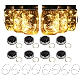 8 Pack Solar Mason Jar Lights with 8 Handles, 10 Led String Fairy Firefly Lights Lids Insert for Regular Mouth Jars, Mason Jar,Patio,Lawn,Garden Decor (8, Warmwhite)