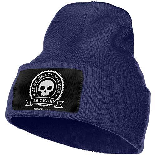 Funny Zero Skateboards Skull Gorro de Punto para Hombre y Mujer Gorro de Calavera Gorro de Invierno cálido y Suave Gorro de esquí Gorro Negro