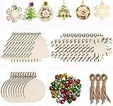 HUDDU 30 Pezzi di Decorazione per Albero di Natale Ciondolo in Legno, 3 Tipi di Ornamenti Natalizi in Stile Misto con Spago e Accessori per Campane per la Deorazione Dell'atmosfera Natalizia Fai-da-te