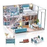 Cuteefun Casa Miniatura para Montar DIY Adultos Mini Habitación Hecha a Mano con Música a Prueba de Polvo y Muebles para Decoración, Regalos Artesanales Creativos para Mujeres (Poetic Life)