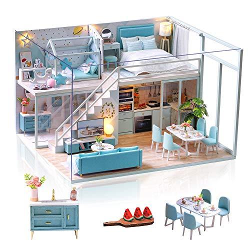 none-branded Casa Miniatura para Montar DIY Adultos Mini Habitación Hecha a Mano con Música a Prueba de Polvo y Muebles para Decoración, Regalos Artesanales Creativos para Mujeres (Poetic Life)