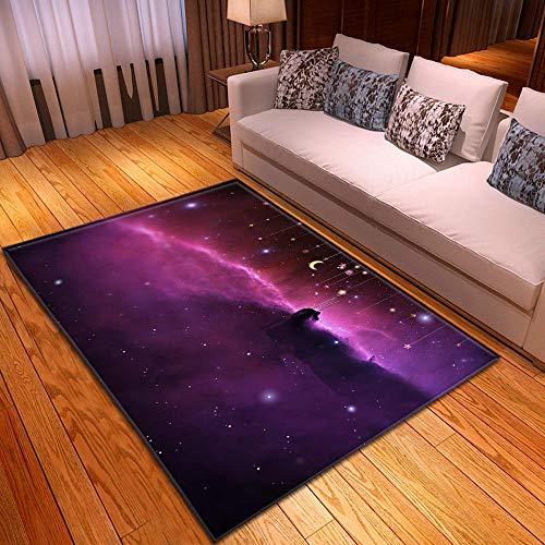 CQIIKJ Alfombra Estampada Cielo Estrellado púrpura Alfombra Antideslizante Alfombra Lavable 60 x 90 cm para la Entrada de casa, baño o Dormitorio