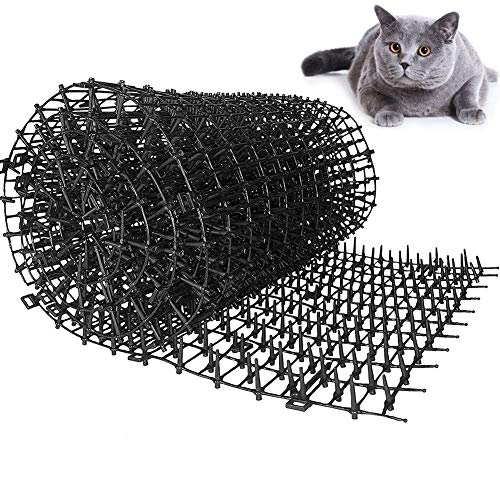 Mrinb Cat Scat Mat with Spikes, Humane Pet Deterrent Mat for Cats, Dogs and More, Anti-Cats Network Digging Stopper Prickle Strip Plant Protective Net for Outdoor Garden Farm Fence