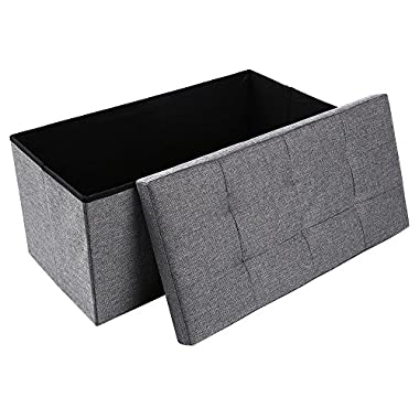 epeanhome Storage Ottoman,Folding Storage Bench, Linen-like Fabric Foldable Stool Thickening Sponge Livingroom 29 7/8  (Gray-Deep linen)