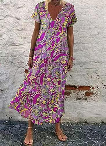 Abkaeh Vestido Largo de Manga Corta con Cuello en V Floral para Mujeres Europeas y Americanas-Purple_XL