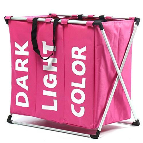 Canasta lavandería,celosía Tela Canasta lavandería Tres Ropa Sucia Muebles para el hogar Pelusa Canastas Almacenamiento Ropa Sucia(Tamaño:660 * 370 * 580 mm;Color:Rosa)