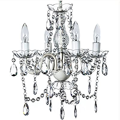 "4 Light Crystal White Hardwire Flush Mount Chandelier H17.5""xW15"", White Metal Frame with Clear Glass Stem and Clear Acrylic Crystals & Beads That Sparkle Just Like Glass"