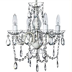 """4 Light Crystal White Hardwire Flush Mount Chandelier H17.5""""xW15"""", White Metal Frame with Clear Glass Stem and Clear Acrylic Crystals & Beads That Sparkle Just Like Glass"""