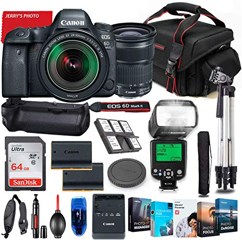 Canon EOS 6D Mark II DSLR Camera with 24-105mm Lens Bundle + Battery Grip + Premium Accessory Bundle Including 64GB Memory, Extra Battery, Filters, Photo/Video Software Package, Shoulder Bag & More