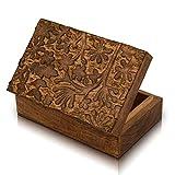 Great Birthday Gifts Handmade Decorative Wooden Jewelry Box Keepsake Box Jewelry Organizer Treasure Chest Trinket Holder Watch Box Storage Lock Box 8 x 5 Inches Housewarming Gift